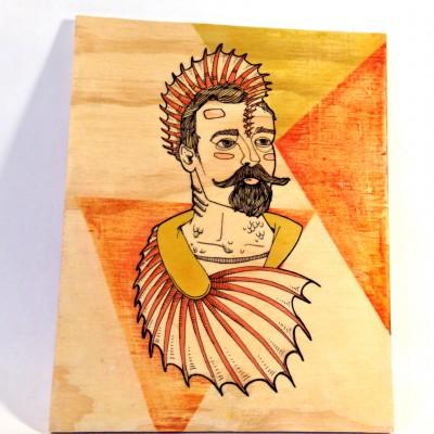 Acrylic image transfer on 1/4 inch plywood.